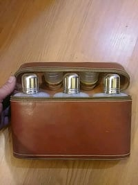 Genuine leather whiskey flask carrying case old Falling Waters, 25419