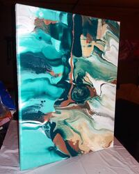 Green, white and teal abstract painting 16x20 canvas  St. Louis