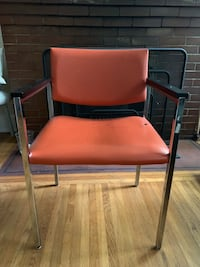 Red orange leather and metal vintage chair Portland, 97214
