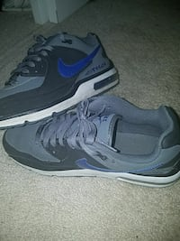 pair of gray-black-and-blue Nike Airmax running shoe