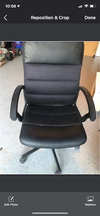 Black leather padded rolling chair Toronto, M2N 6V2