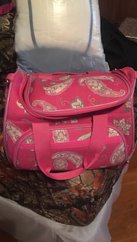 beige and red floral and paisley print duffel bag Cocoa, 32926