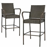 Set Of 2 Wicker Bar Stools