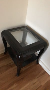 black wooden framed glass top side table Washington, 20008