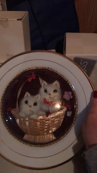 Two white kittens in basket ceramic plate!!!!