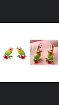 Green & Yellow Ow.l Theme Enamel Earrings Jewelry Vancouver, V5X 1A7
