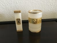Ancient Asian Styled White Crystal Pen Pencil Holder Paperweight Set Tiburon
