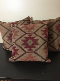 3 crate and Barrel,beige and red tribal print throw pillows down-filled. Upper Marlboro, 20774