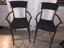 Vintage Bronze and Black Counter Stools