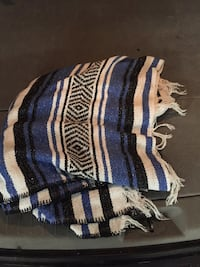 white and blue stripe textile