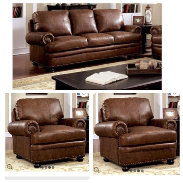 Beautiful New Genuine Leather Sofa Set 1sofa 2chair Only 1 800