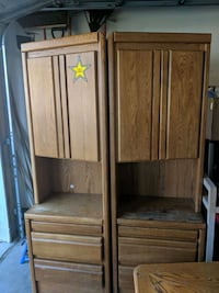 2 wooden cabinets/desk/drawers for bedroom. 2pc