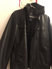 black zip-up leather hooded jacket