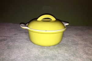 "6"" Vintage Enameled Cast Iron Mini Dutch Oven with lid"