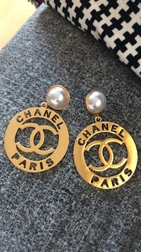 Vintage Chanel Gold Tone Faux Pearl x CC Jumble Dangle Clipon Earrings  New Westminster, V3L 0A8