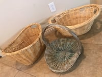 3 Decorative Hand-woven Wicker Storage Cloths Magazine Baskets Las Vegas, 89131