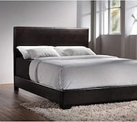 King Brown Faux Leather Bed Frame-NEW