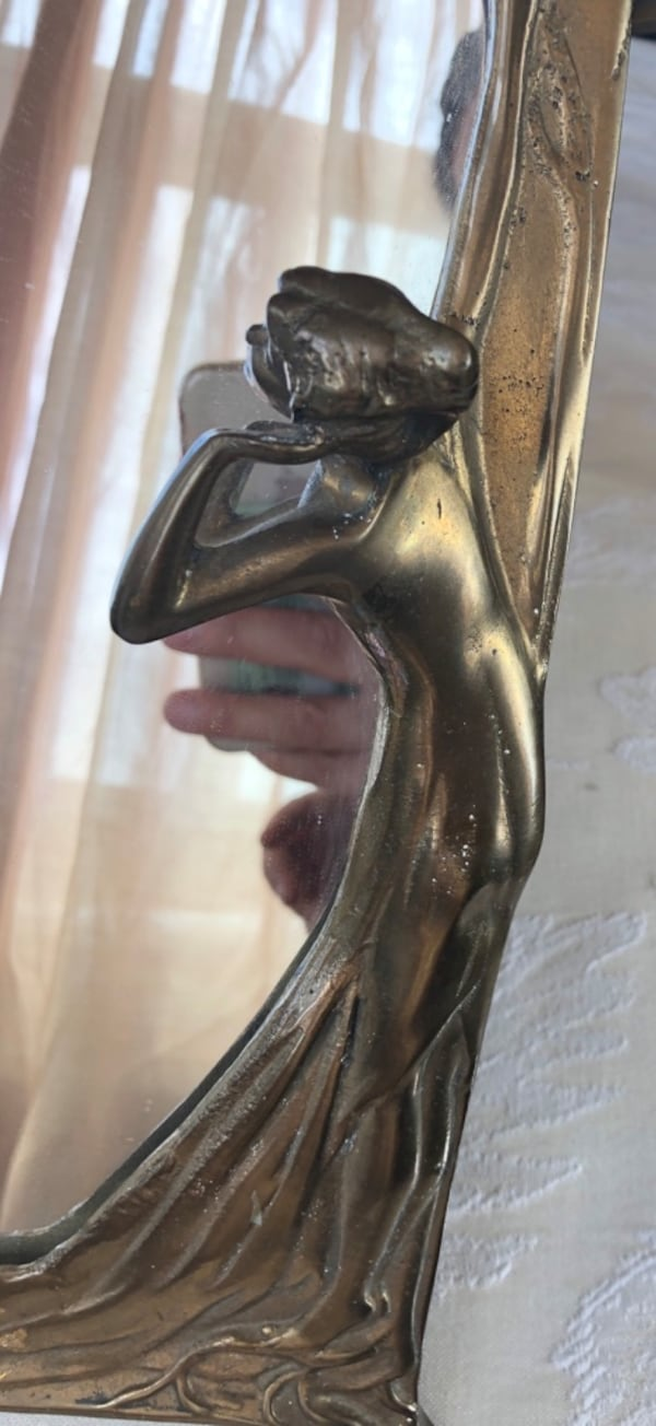 Art Nouveau brass mirror 9.5x13 inches 2