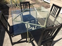 black metal framed glass top table with chairs スプリングフィールド, 97477