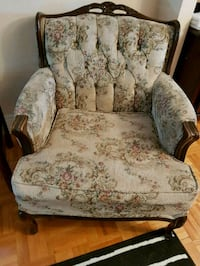 white and green floral padded armchair Dollard-Des Ormeaux, H9G 2C9