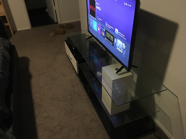 Contemporary White/Black TV stand