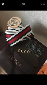 black and red Gucci leather belt with box Denver, 80202