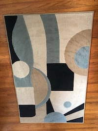 Blue Taupe White Black Area Rug 547 km