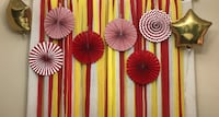 assorted-colored paper hanging decors