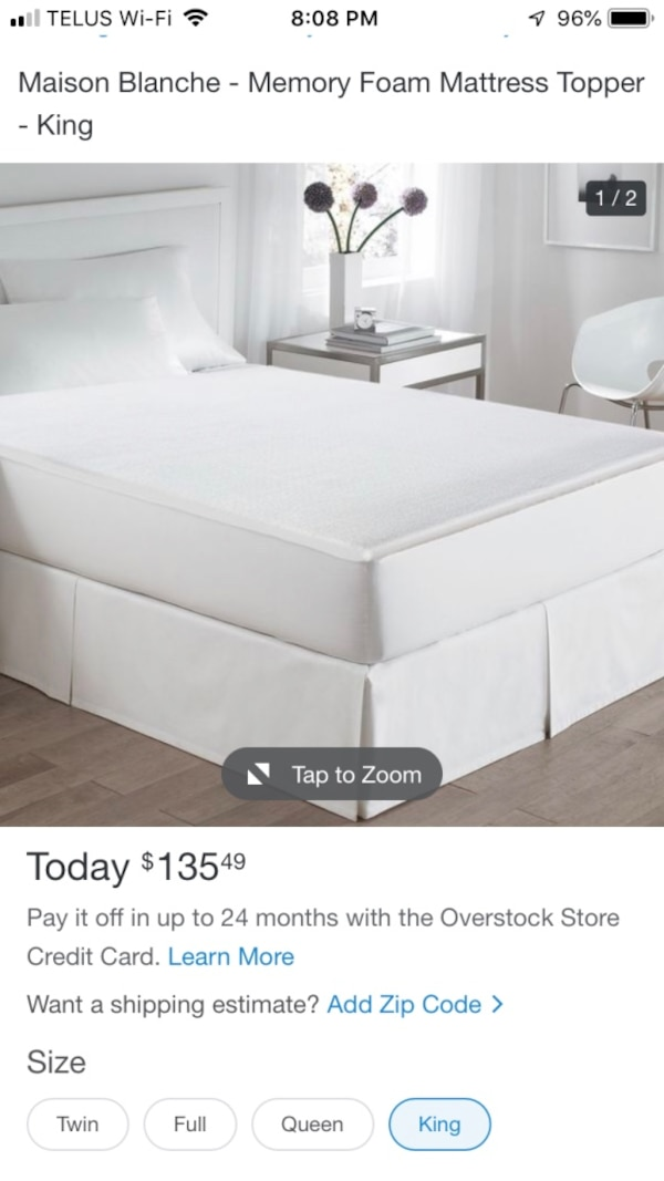 Used Maison Blanche King Size Memory Foam Mattress Topper For Sale