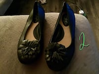 Pair of black leather flat shoes size 2 Fort Worth, 76132