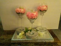Glam decor..candle holders with mirrored glam tray Fort Mill