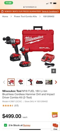Milwaukee Tool M18 FUEL 18V Li-Ion Brushless Cordless Hammer Drill Surrey, V3W 1Z6