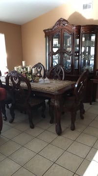 rectangular brown wooden table with chairs dining set Modesto, 95350
