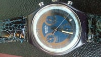 round silver chronograph watch with black leather strap Albuquerque, 87108