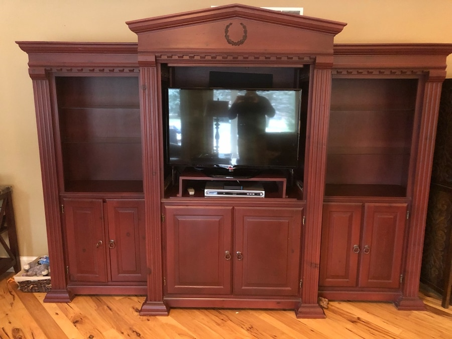 Used Brown Wooden TV Hutch With Flat Screen Television For Sale In Chicago
