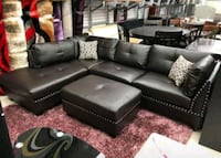 Brand New Espresso Bonded Leather Sectional Sofa  Silver Spring