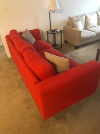 red fabric 3-seat sofa 24 km