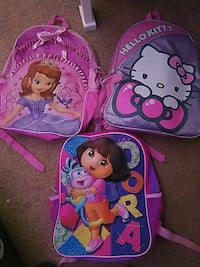 girl's pink Dora, Hello Kitty and Sofia the First backpacks