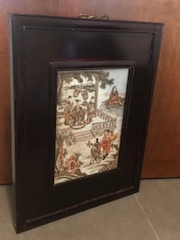 Hand painted tile with Chinese theme framed in wooden frame Antique Surrey, V4N 0L4