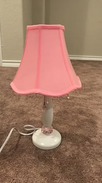 white and pink table lamp