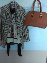 brown leather tote bag; gray and brown plaid coat TORONTO