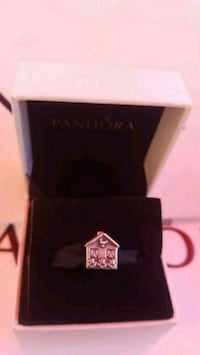 silver-colored house Pandora earring with box