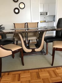 rectangular black wooden table with six chairs dining set Toronto, M3C