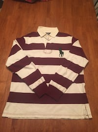 white and purple Ralph Lauren striped collared long-sleeved shirt