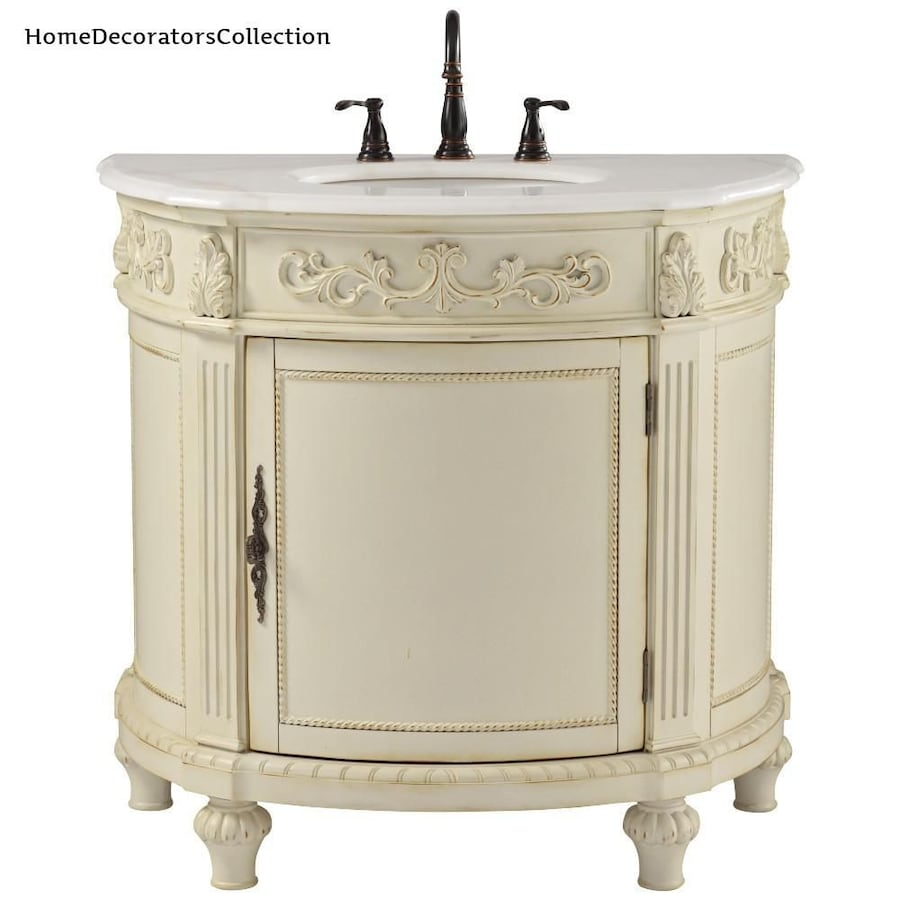Antique White With Marble Vanity Top
