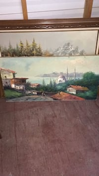 Painting of house near body of water