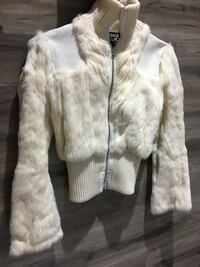 Rabbit fur jacket with leather inserts