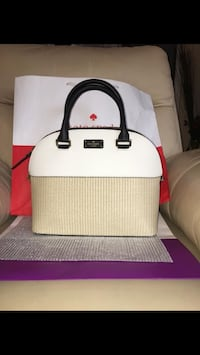 BNWT Authentic Kate Spade Leather & Straw Purse