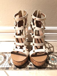 Pair of white-and-brown wedge sandals Los Angeles, 90067