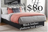 Brand new faux leather queen platform bed (No Mattress)  Fort Worth, 76118